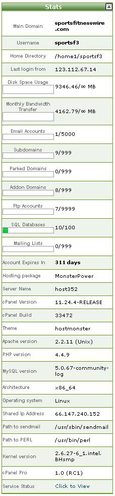hostmonster cpanel stats